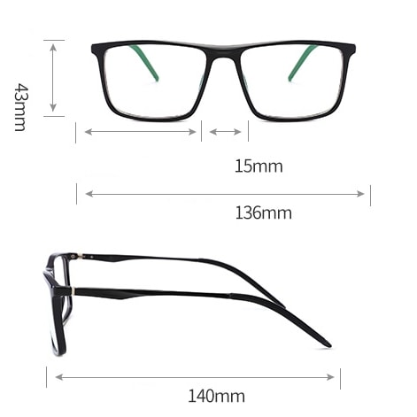 Az ES2 monitor szemüveg méretei
